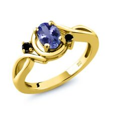 0.82 Ct Oval Blue Tanzanite Black Diamond 18K Yellow Gold Ring