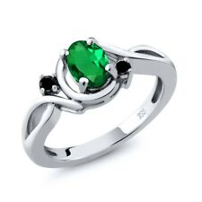 0.67 Ct Oval Green Simulated Emerald Black Diamond 925 Sterling Silver Ring