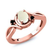 0.70 Ct Oval Cabochon White Simulated Opal Black Diamond 18K Rose Gold Ring