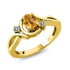 0.77 Ct Oval Checkerboard Yellow Citrine White Diamond 14K Yellow Gold Ring