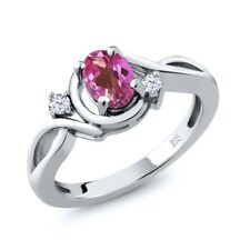 0.88 Ct Oval Pink Mystic Topaz White Topaz 925 Sterling Silver Ring