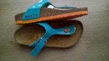 BIRKENSTOCK - GIZEH - OCEAN VARNISH WITH ORANGE SOLES RRP $127 SAVE $27