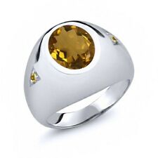 4.07 Ct Oval Whiskey Quartz and Simulated Citrine 925 Sterling Silver Men's Ring