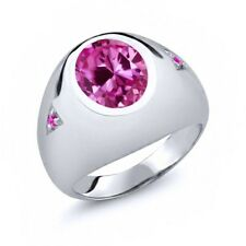 6.10 Ct Oval Pink Created Sapphire Pink Sapphire 925 Sterling Silver Men's Ring