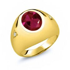 5.06 Ct Oval Red Created Ruby 18K Yellow Gold Plated Silver Men's Ring