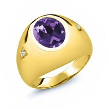 4.08 Ct Purple Amethyst White Topaz 18K Yellow Gold Plated Silver Men's Ring
