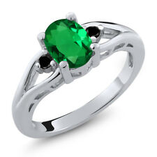 1.07 Ct Oval Green Simulated Emerald Black Diamond 925 Sterling Silver Ring