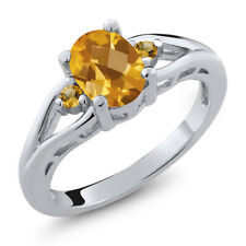 1.32 Ct Oval Checkerboard Citrine and Simulated Citrine 925 Sterling Silver Ring