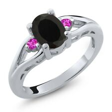 1.35 Ct Oval Black Onyx Pink Sapphire 925 Sterling Silver Ring