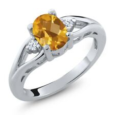 1.31 Ct Oval Checkerboard Yellow Citrine 925 Sterling Silver Ring