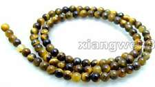 "SALE Small 4mm Round natural tiger's-eye loose Beads string 15""-los612"