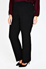 Plus Black Pull On Ribbed Bootcut Trousers - PETITE   Size 14-36