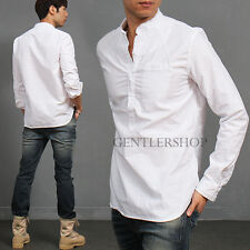 Men's Fashion Vintage Style White Half Open Button Up Shirt Tee, GENTLERSHOP
