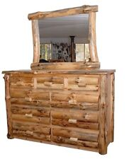 Rustic Pine Log 6 or 9 Drawer Dresser with or without Mirror - Amish Made