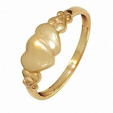Child's Heart Signet 9ct Solid Yellow Gold Bee Other Ring Size 4.5-7.75