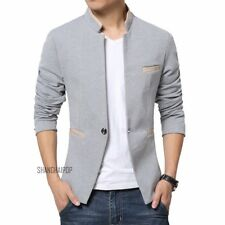 Men Slim Fit One Button Blazer Stand Cool Tunic Jacket Coat Casual Fashion New