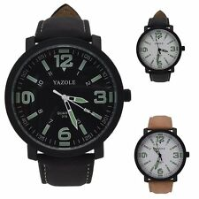 Fashion Men's Leather Stainless Steel Casual Analog Quartz Luminous Wrist Watch
