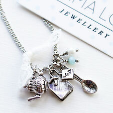 Teapot Tea bag Alice in Wonderland Necklace Charm Silver Tone Jewellery Gift UK