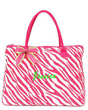 Personalizing Quilted Zebra PINK Large Tote Bag Purse MONOGRAM Embroidery