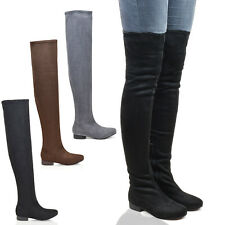 WOMENS THIGH HIGH FAUX SUEDE LADIES TALL STRETCH OVER THE KNEE HIGH BOOTS SIZE