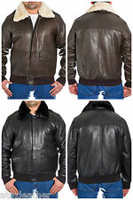 Mens Classic Bomber A2 Pilot Flying Leather Sheepskin Jacket in Brown / Black