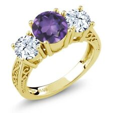 2.10 Ct Purple Amethyst White Topaz 18K Yellow Gold Plated Silver 3-Stone Ring