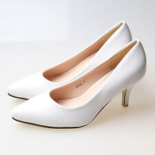 Women's High Heels Kitten Pointy Toe Pumps Office Work Shoes US Size 5-10 White