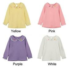 Sweet Long Sleeve Baby Kids Girl Butterfly Embroidery T-Shirt Blouse Tops V9EJ