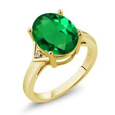 4.02 Ct Oval Green Simulated Emerald White Sapphire 18K Yellow Gold Ring