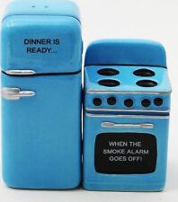 Fridge and Stove Attractive Magnet Salt and Pepper Shakers Blue Kitchen Home A