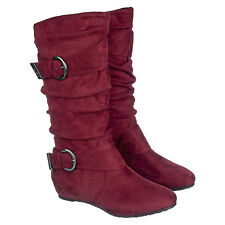 B1 NEW Dark Red Knee High Mid Calf Round Toe Slouch Comfort Casual Boots Flat