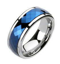 Tungsten Band Multi-Faceted Blue Prism Spinning Center Men's Ring