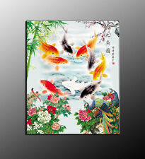 Art Canvas wall decor HD print oil painting Feng Shui Fish Koi Painting NXT116
