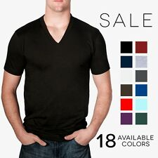 American Apparel 2456 V Neck T-Shirt Basic Tee Shirt Short Sleeve Cotton Jersey