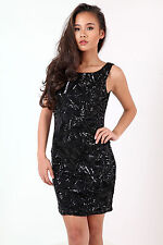 New Womens Ladies Scoop Back Sequin Party Dress UK Size 8-14