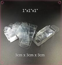 Clear Plastic PVC Boxes Party Favor Wedding Tuck Top Display Box 1 x 1 x 1 inch