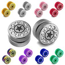 1 pair fake plugs magnetic taper tunnel earrings stainless steel rhinestone 000G