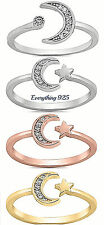 Sterling Silver 925 (7MM & 9MM) PRETTY MOON & STAR DESIGN CZ RINGS SIZES 2-10