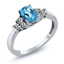 0.76 Ct Oval Swiss Blue Topaz White Diamond 925 Sterling Silver Ring