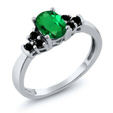 0.66 Ct Oval Green Simulated Emerald Black Diamond 925 Sterling Silver Ring