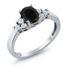 0.71 Ct Oval Black Onyx White Topaz 925 Sterling Silver Ring