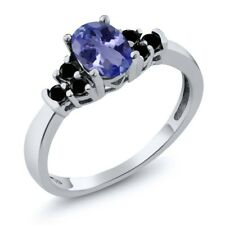 0.71 Ct Oval Blue Tanzanite Black Diamond 925 Sterling Silver Ring