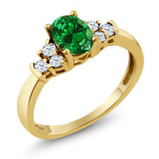 0.67 Ct Green Simulated Emerald White Topaz 18K Yellow Gold Plated Silver Ring