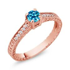 0.12 Ct Round Blue Zirconia White Created Sapphire 14K Rose Gold Engagement Ring