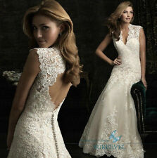 White/Ivory Lace Wedding Dresses V Cap Sleeve Bridal Gowns Custome Made Size6-16