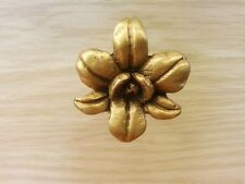 Brass Drawer Cabinet Knob Pull Cupboard Mini Flower Figurine Vintage Home Decor