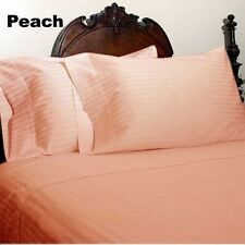 Discount 100%Cotton 1000TC Extra Deep Pocket Soft Sheet Set Striped Peach Gift