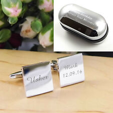 Silver Square Personalised ENGRAVED Usher Wedding Cufflinks