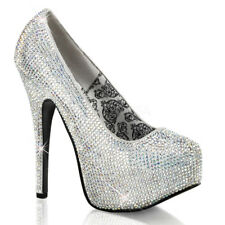 Bordello TEEZE-06R Shoes Silver Satin-Iridescent Rhinestones Platforms High Heel