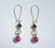 Tibetan Silver pink glass pearl earrings - (pierced or clip)  party prom bridal